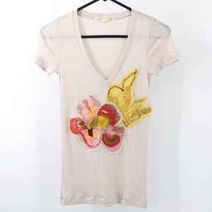 J. Crew Embroided Beaded V-Neck Top